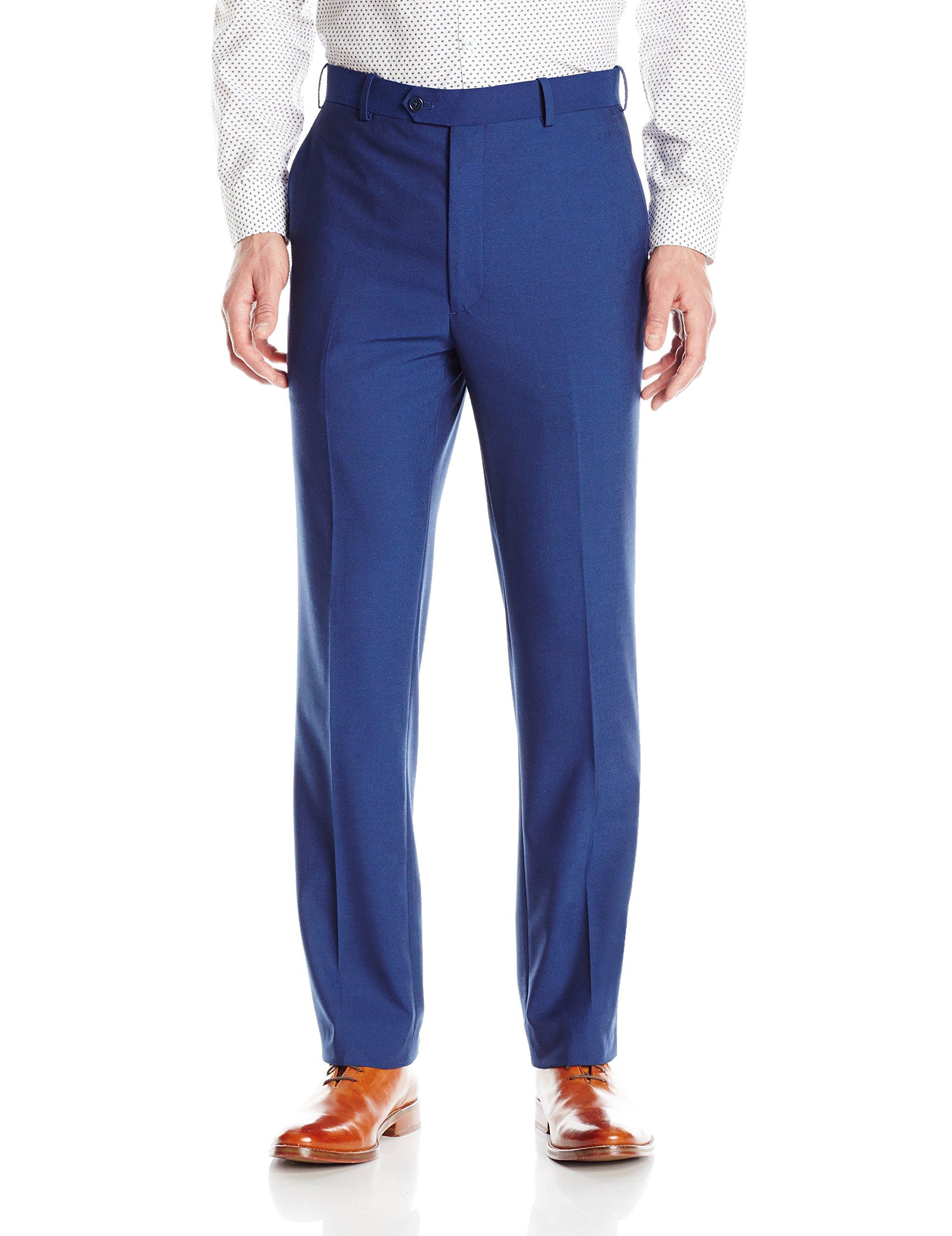 Adolfo Men's Micro Tech Slim Fit Flat Front Suit Pant, Blue with Lycra Stretch, 40Wx30L