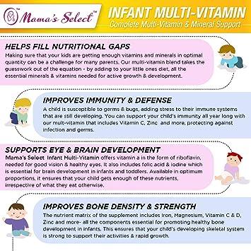 Multivitaminas infantiles de de apoyo inmunológico, crecimiento y desarrollo infantil, 25 porciones por envase, sin colorantes, sabores o conservantes ...