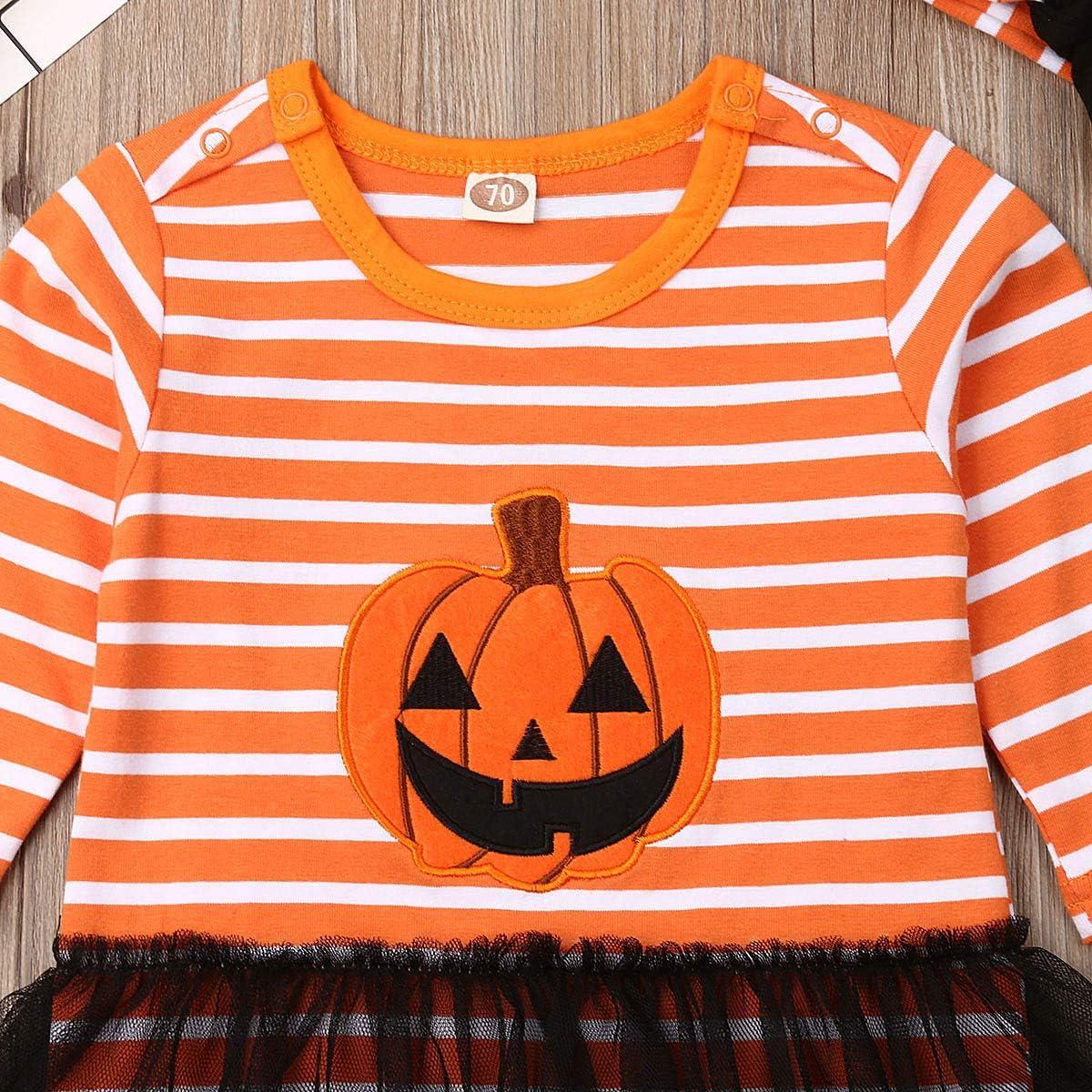 Infant Baby Boys Girls Halloween Jumpsuit Romper Pumpkin Stripe Long Sleeve Bodysuits Hat Headband
