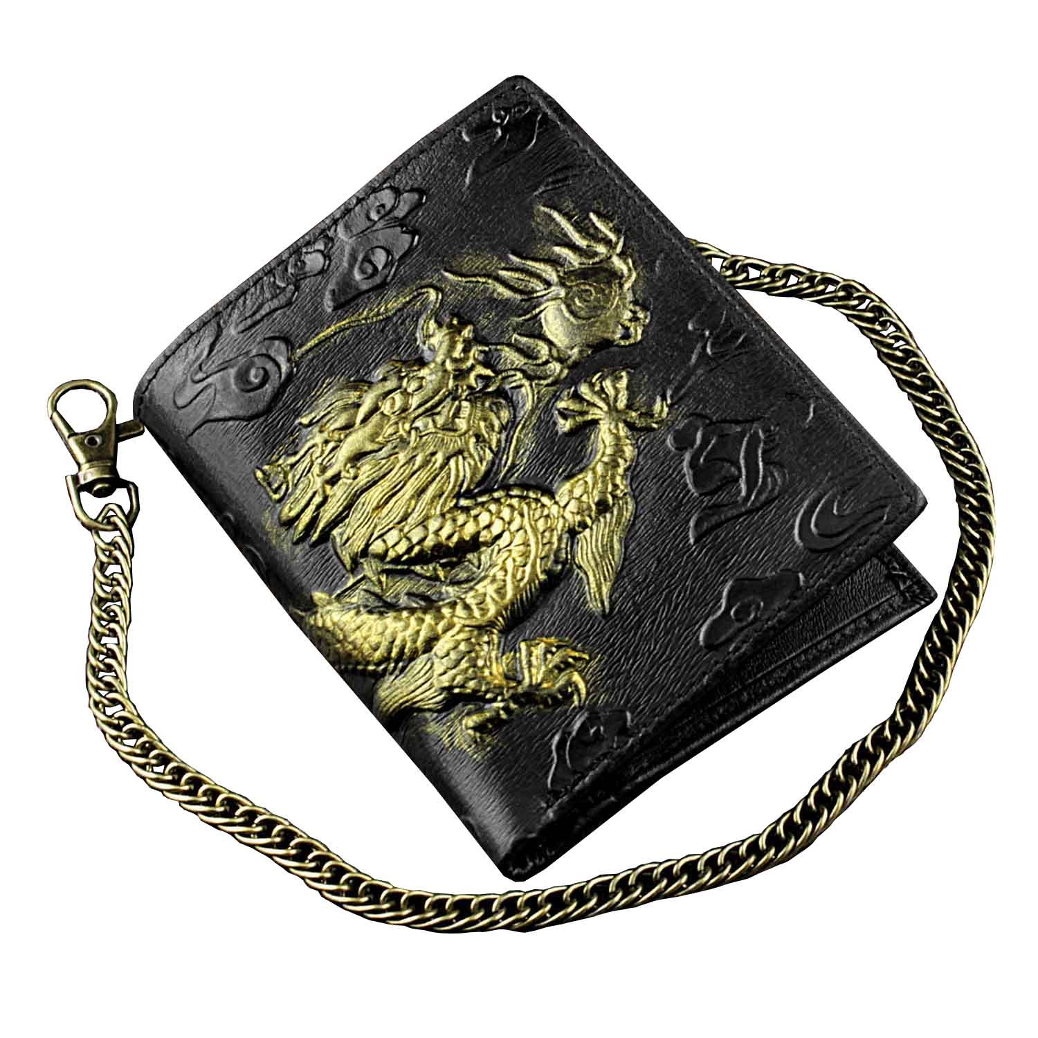 Mens 3D Dragon Vintage Luxury Leather Wallet ID Card Holder Purse w/ Chain