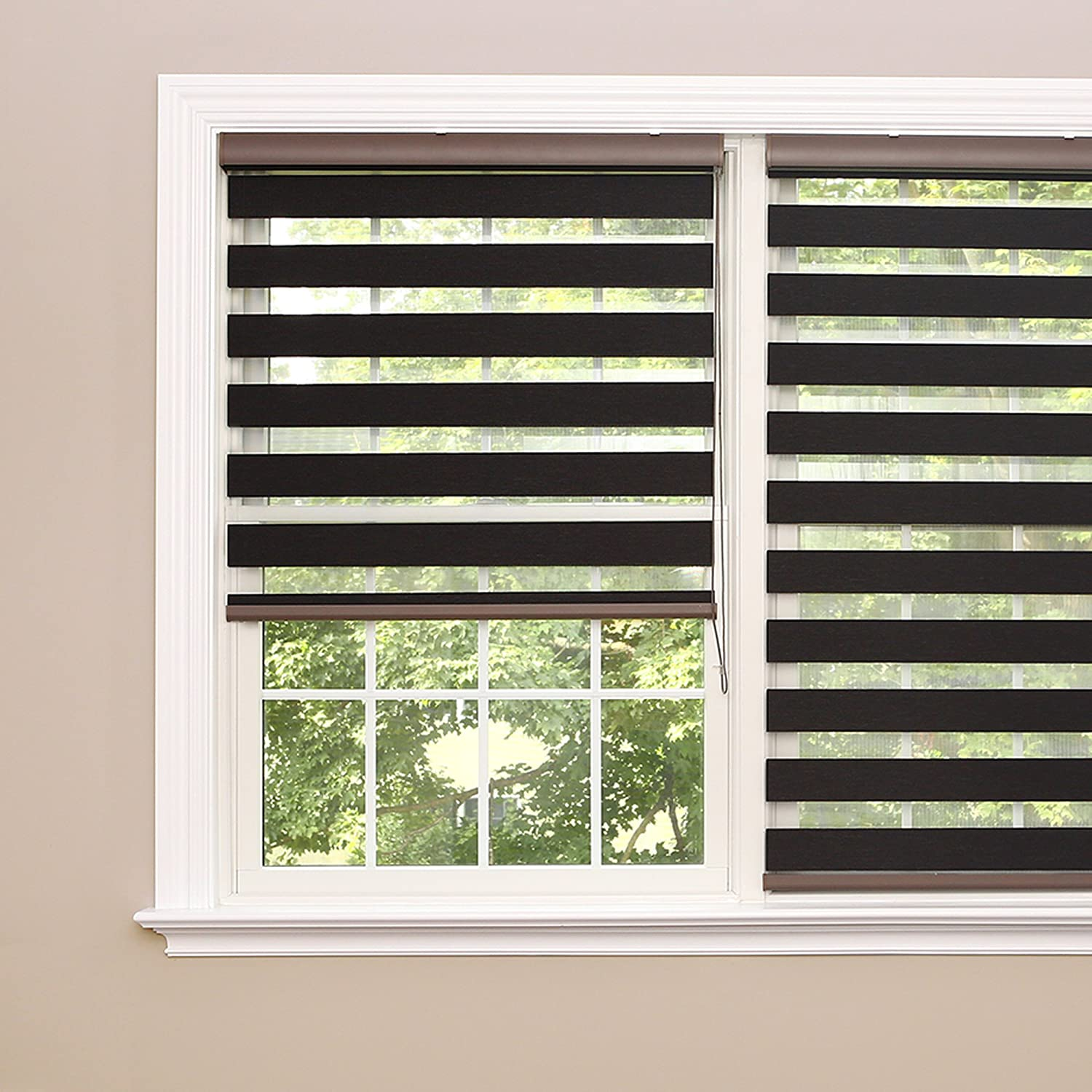 Best Home Fashion Closeout Premium Duo Wood Look Roller Window Shade - Charcoal - 31