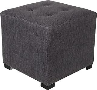 product image for MJL Furniture Designs Merton Designer Square 4 Button Tufted Upholstered Ottoman, Grey/Red