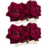 Bememo 2 Pack Rose Flower Hair Clip Women Rose Flower Hair Accessories Wedding Hair Clip Flamenco Dancer (Dark Red)