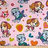 Nickelodeon Paw Patrol Playful Pups! Fleece Pink Fabric By The Yard