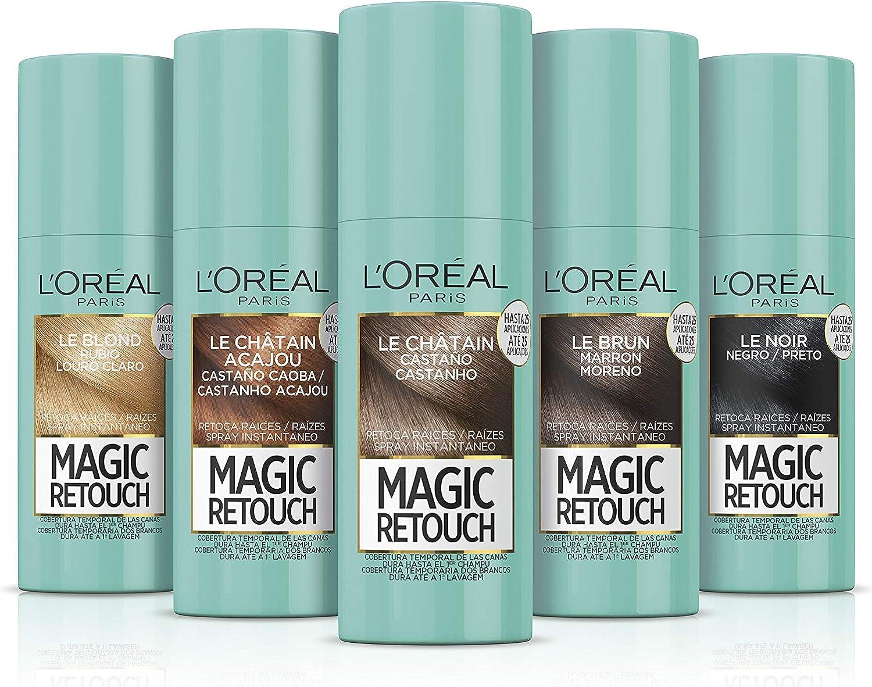 LOreal Paris Magic Retouch Spray Retoca Raíces y Canas, Tono Castaño Oscuro - 150 ml