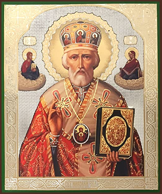 Amazon.com: Religious Gifts Russian Wooden Icon of St Saint Nicholas The  Wonderworker with Miter 8 3/4 Inch: Home & Kitchen