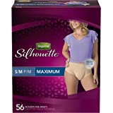 Depend Silhouette Incontinence Briefs for Women Maximum Absorbency, Small/Medium, 56 Disposable Adult Underwear