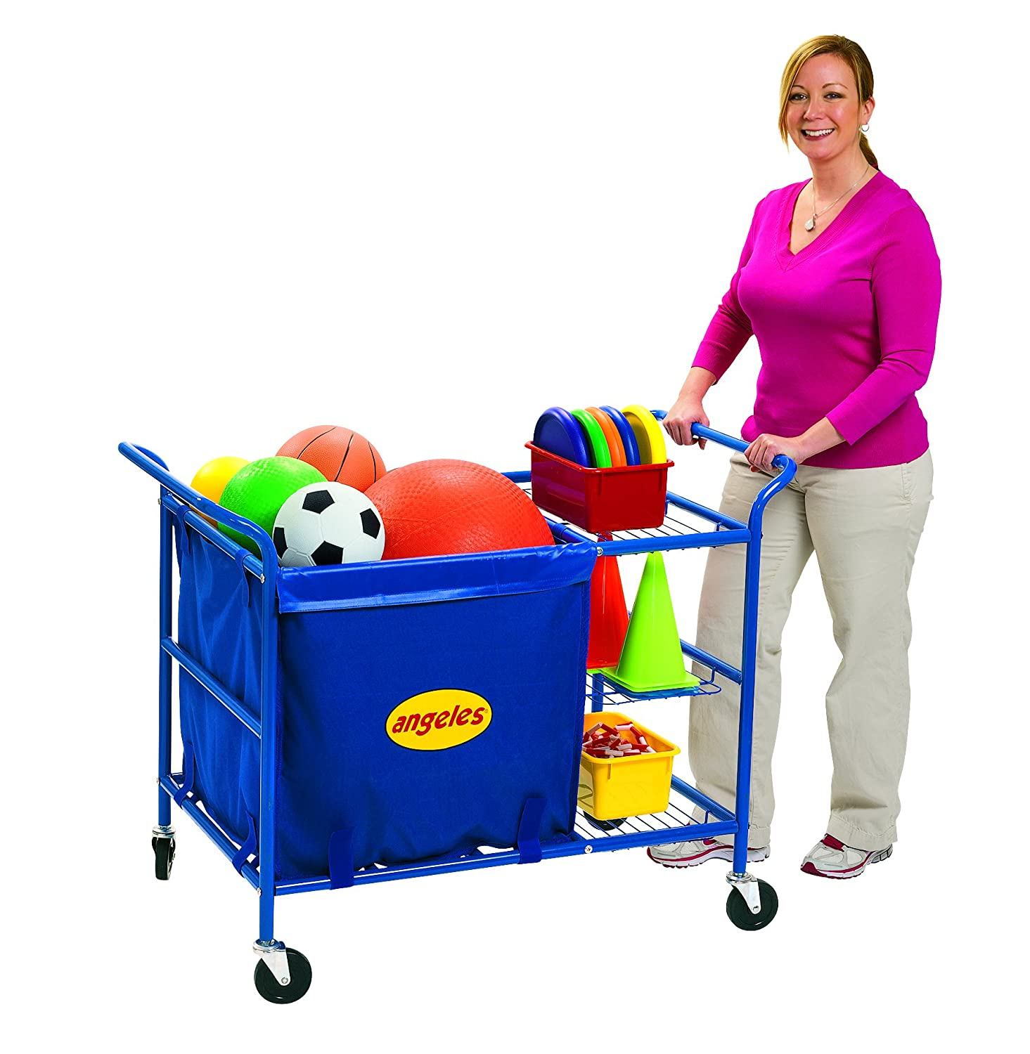 "Image of Angeles Classroom Essentials Ball Cart, Blue – 46"" by 25' by 35"" – Constructed of Sturdy Steel with Integrated Nylon Storage Bin and 3 Shelves – Versatile Cart is Easy to Roll on 4 Casters Ball Storage"