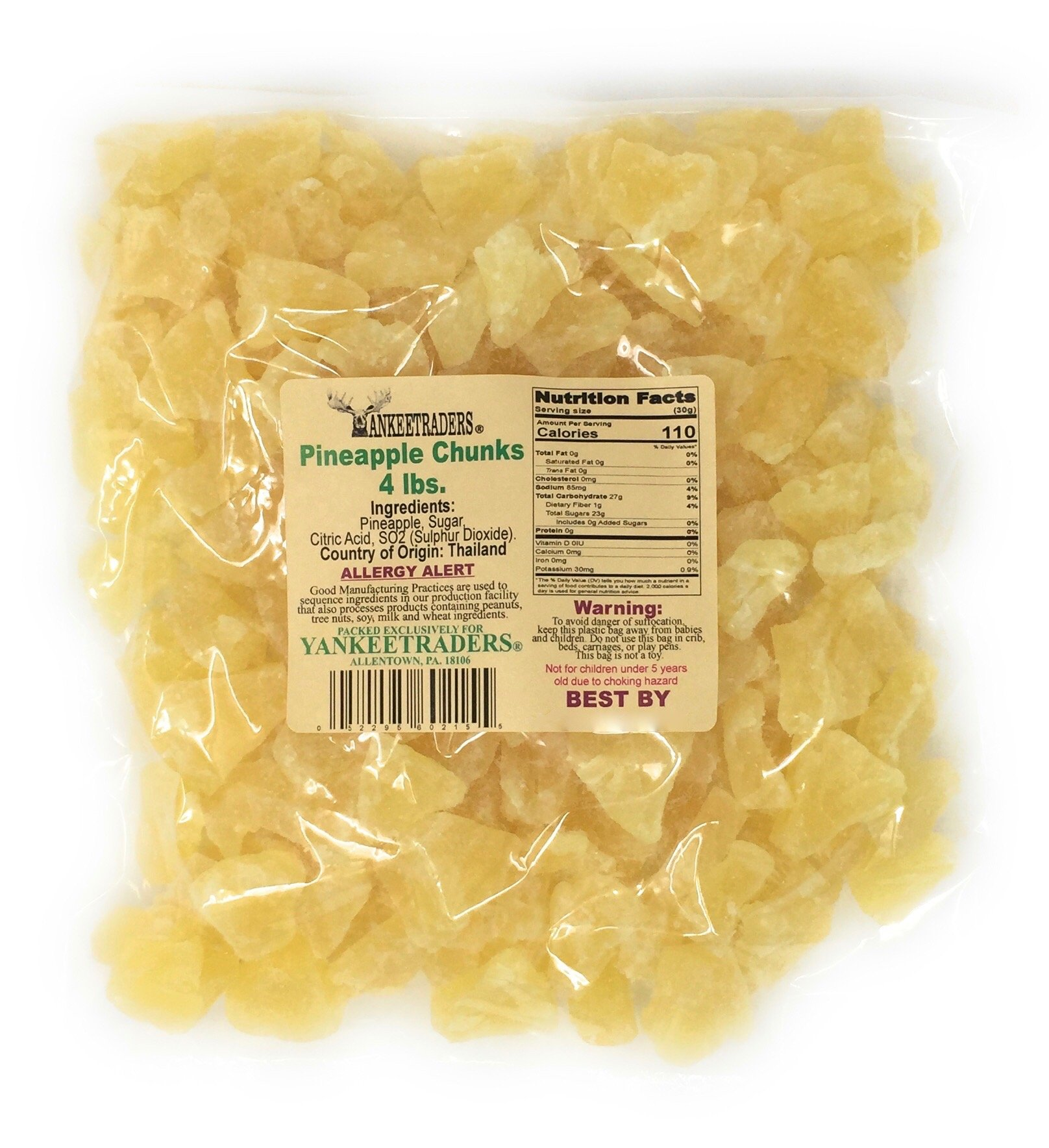 Yankee Traders Dried Pineapple Chunks, 4 Pound by YANKEETRADERS