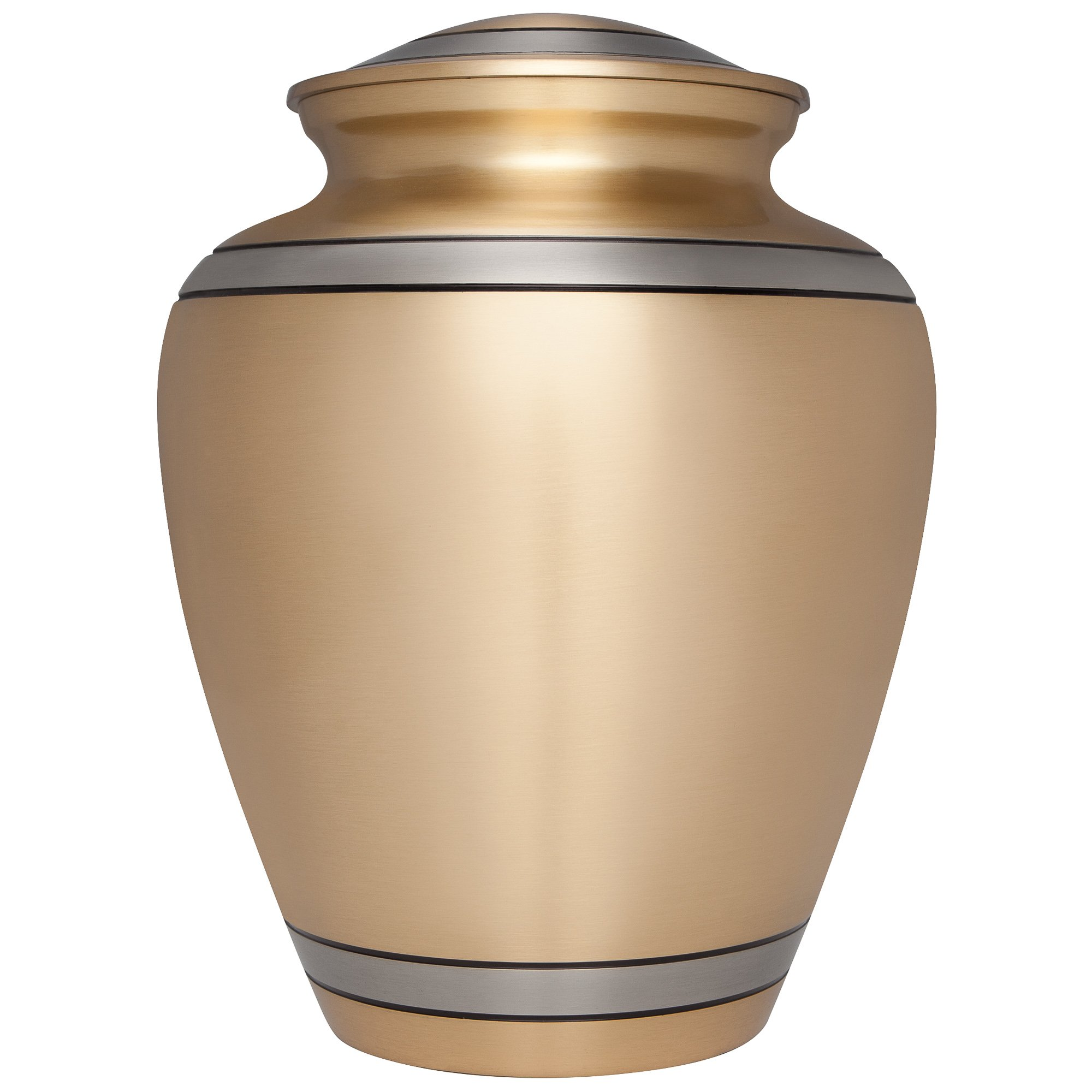 Golden Funeral Cremation Urn for Human Ashes by Liliane Memorials - Hand Made in Brass - Suitable for Cemetery Burial or Niche - Large Size fits remains of Adults up to 200 lbs- Peaceful Embrace Model