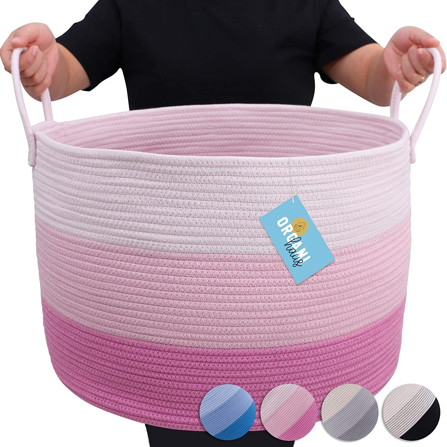 """OrganiHaus 3-Toned Cotton Rope Storage Baskets for Laundry and Blankets (Wide (20""""x13.3""""), 3-Toned Pink)"""