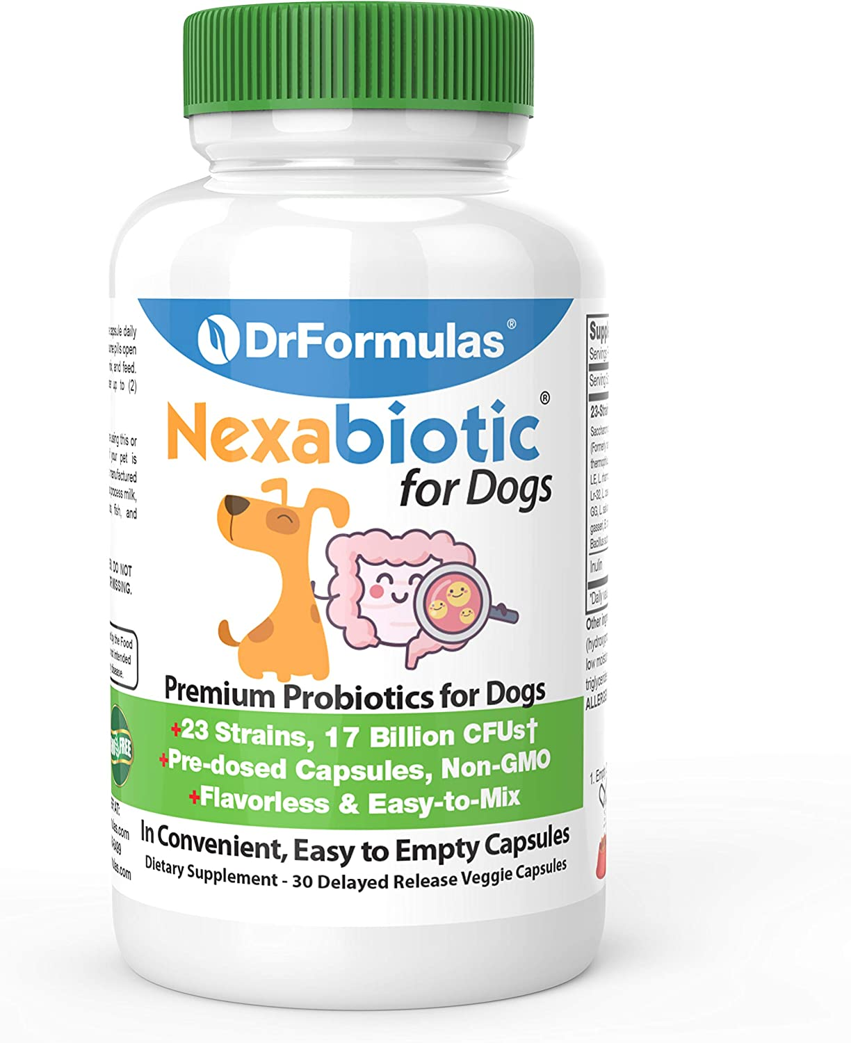 DrFormulas Probiotics for Dogs & Puppies Pets Diarrhea Treatment | Flavorless, Pre-dosed, 23 Premium Nexabiotic Probiotic for Pets with Saccharomyces Boulardii, Lactobacillus Acidophilus, 30 Doses