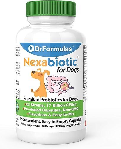 DrFormulas Probiotics for Dogs Puppies Pets Diarrhea Treatment Flavorless, Pre-dosed, 23 Premium Nexabiotic Probiotic for Pets with Saccharomyces Boulardii, Lactobacillus Acidophilus, 30 Doses