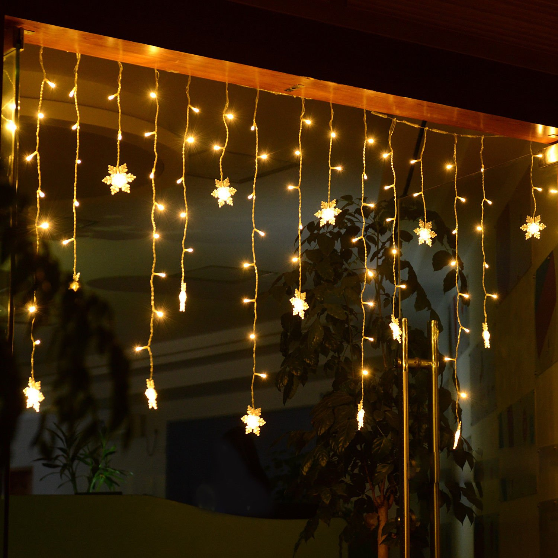 160LED Lichterkette Eisregen Eiszapfen Lichtvorhang Deko Beleuchtung Innen Außen