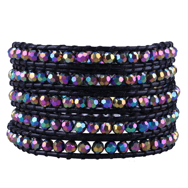 C·QUAN CHI Jewelry Bohemian Bracelet Wraps Bracelet Beaded Strand Bracelet Genuine Leather Bracelet Fashion Jewelry for Women Gifts for Teen Gift, 5 Wraps Adjustable Bracelets Handmade