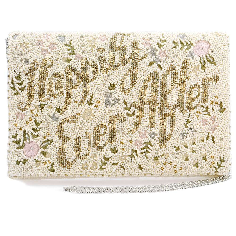 Mary Frances Happily Ever After White Clutch Evening Bag New Bridal Bride Wedding