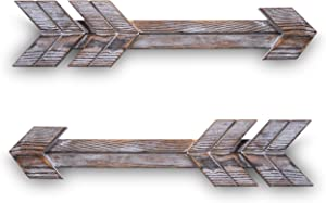 Rustic Wood Wooden Arrow Arrows Hanging Sign Wall Art Artwork for Farmhouse Home Decor Decorations (Set of 2, Brown)