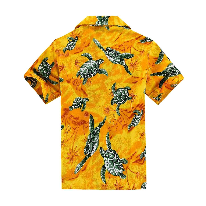 Aloha Fashion Boy Hawaiian Shirt and Shorts 2 Piece Cabana Set in Yellow with Green Sea Turtle