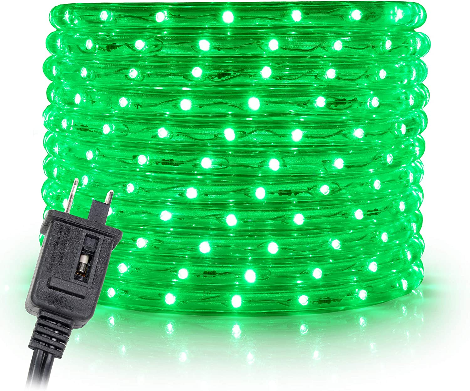 """WYZworks 150 feet 1/2"""" Thick Green Pre-Assembled LED Rope Lights with 10', 25', 50', 100' Option - Christmas Holiday Decoration Lighting 