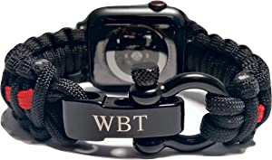WATER BEAR TACTICAL 550 Paracord Band made for Apple Watch 38mm & 40mm with Stainless Steel Shackle for Apple Watch Series 6, 5, 4, 3, 2, 1 (Red stripe Black, 38/40mm Large)