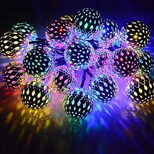 Dephen Solar String Lights Moroccan Ball Multicolor 15ft 20LED Globe Fairy String Lights Solar Powered Orb Lantern Christmas Lighting for Outdoor Garden, Yard, Patio, Xmas Tree, Party, Home Decoration