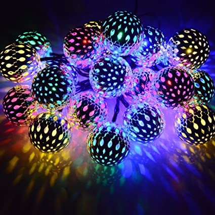 Dephen Solar String Lights Moroccan Ball Multicolor 15ft 20LED Globe Fairy  String Lights Solar Powered Orb