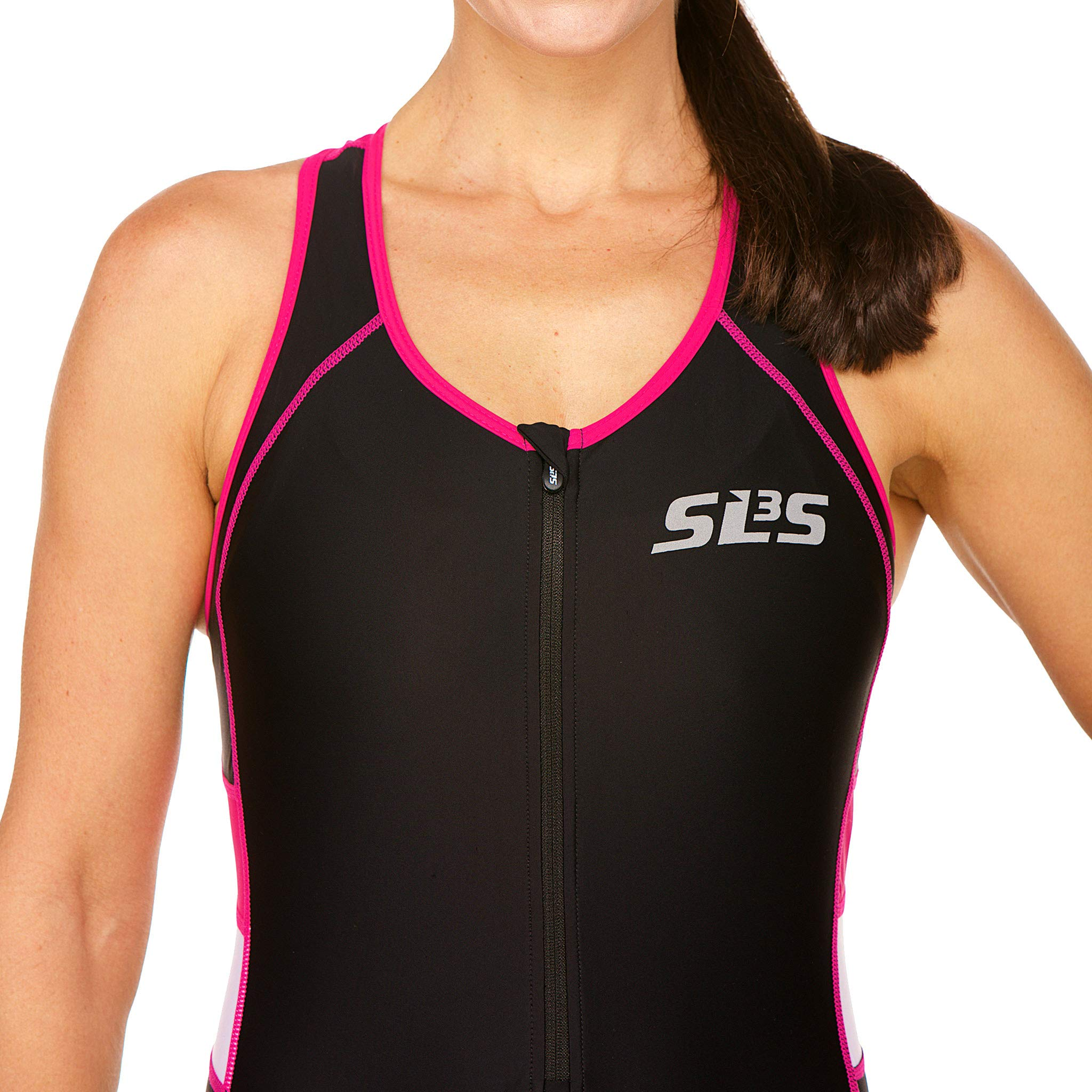 SLS3 Women`s Triathlon Suit FX | Womens Trisuits | 1 Pocket Triathlon Gear Suits Women | Anti-Friction Seams Womens Tri Suit | German Designed (Black/Bright Rose, M) by SLS3 (Image #6)