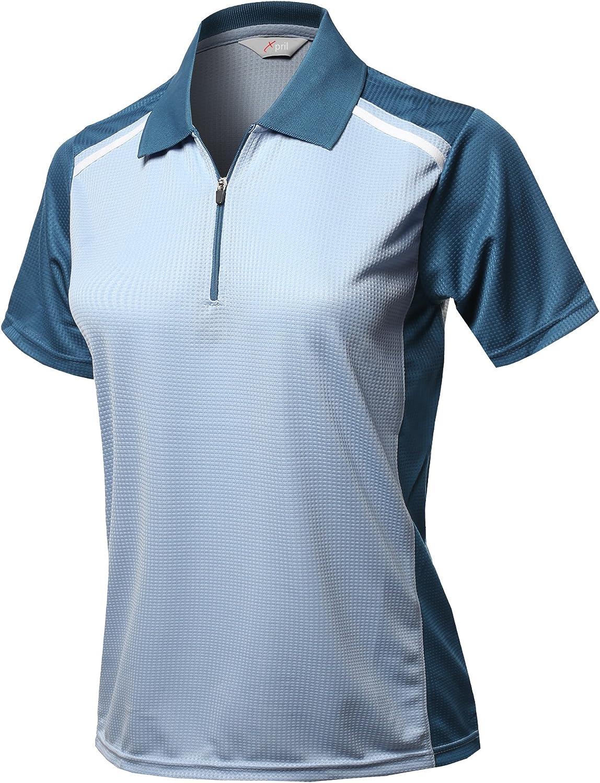 Womens Coolmax 2 Tone Collar Zipup Polo T-Shirt