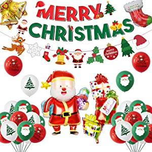 LakPty Christmas Party Decorations Merry Christmas Banners Red and Green Balloons Set Snowman Christmas Tree Bell Gift Box Decoration Xmas Party Favors Supplies for Kids Adult Home Celebration Decor