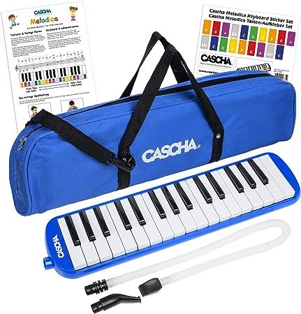 CASCHA Melódica con estuche y boquilla, Instrumento para niños y principiantes, Azul