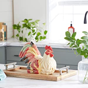 Deco 79 40775 Ceramic Decorative Rooster Statue, 15 by 9-Inch
