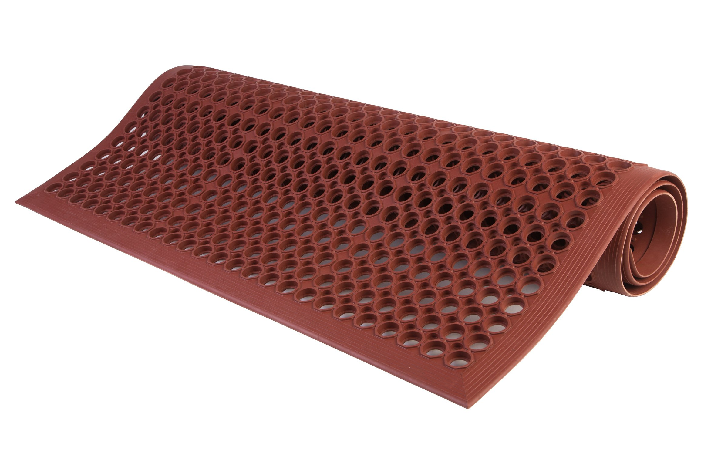 Consolidated Plastics Lightweight DEK-Mat, Anti-Fatigue Kitchen Mat with Holes, 3'x5', Grease Resistant Red