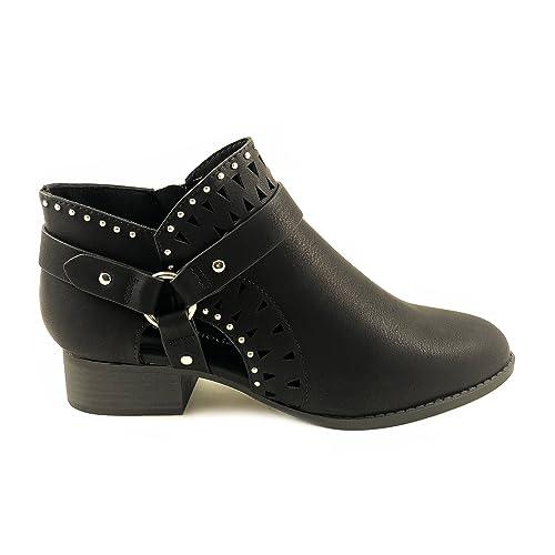 Topshoeave Please Cutout Zip Short Wooden Heel Ankle Booties For Girls/Women