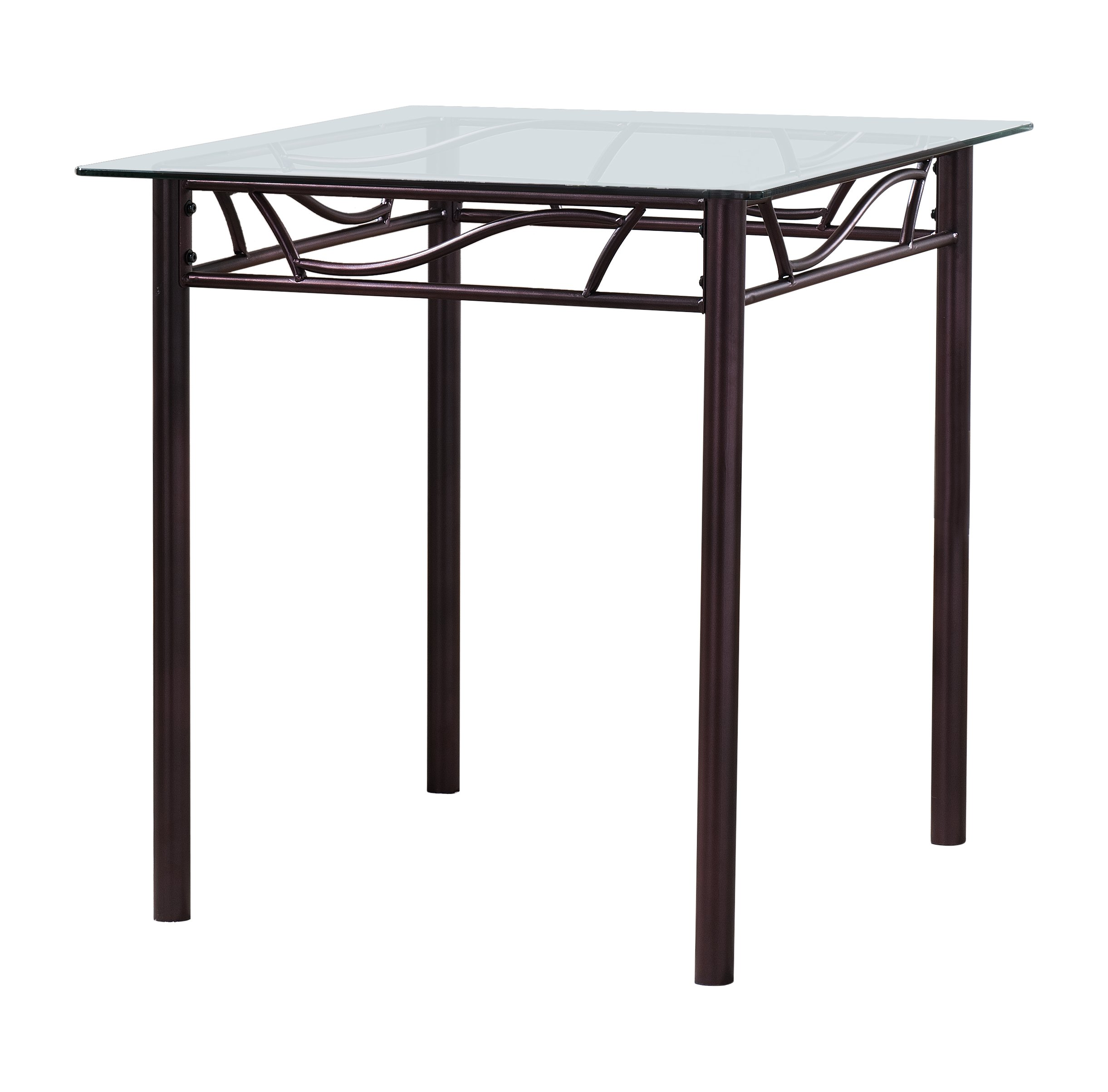 Kings Brand Bronze Metal/Tempered Glass Top Square Kitchen Dinette Table
