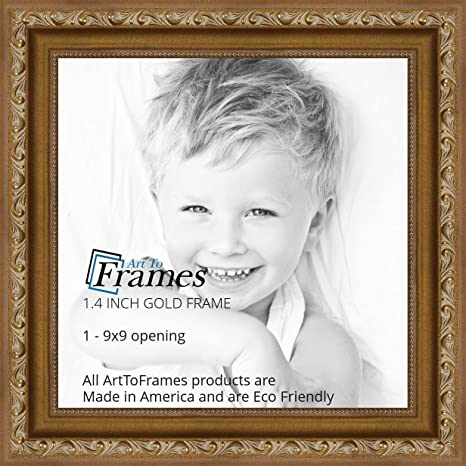 Amazon Arttoframes 9x9 Inch Gold With Beads Wood Picture Frame
