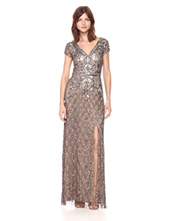 06a2d2a36de Adrianna Papell Women s V Neck Short Sleeve Beaded Deco Gown at ...