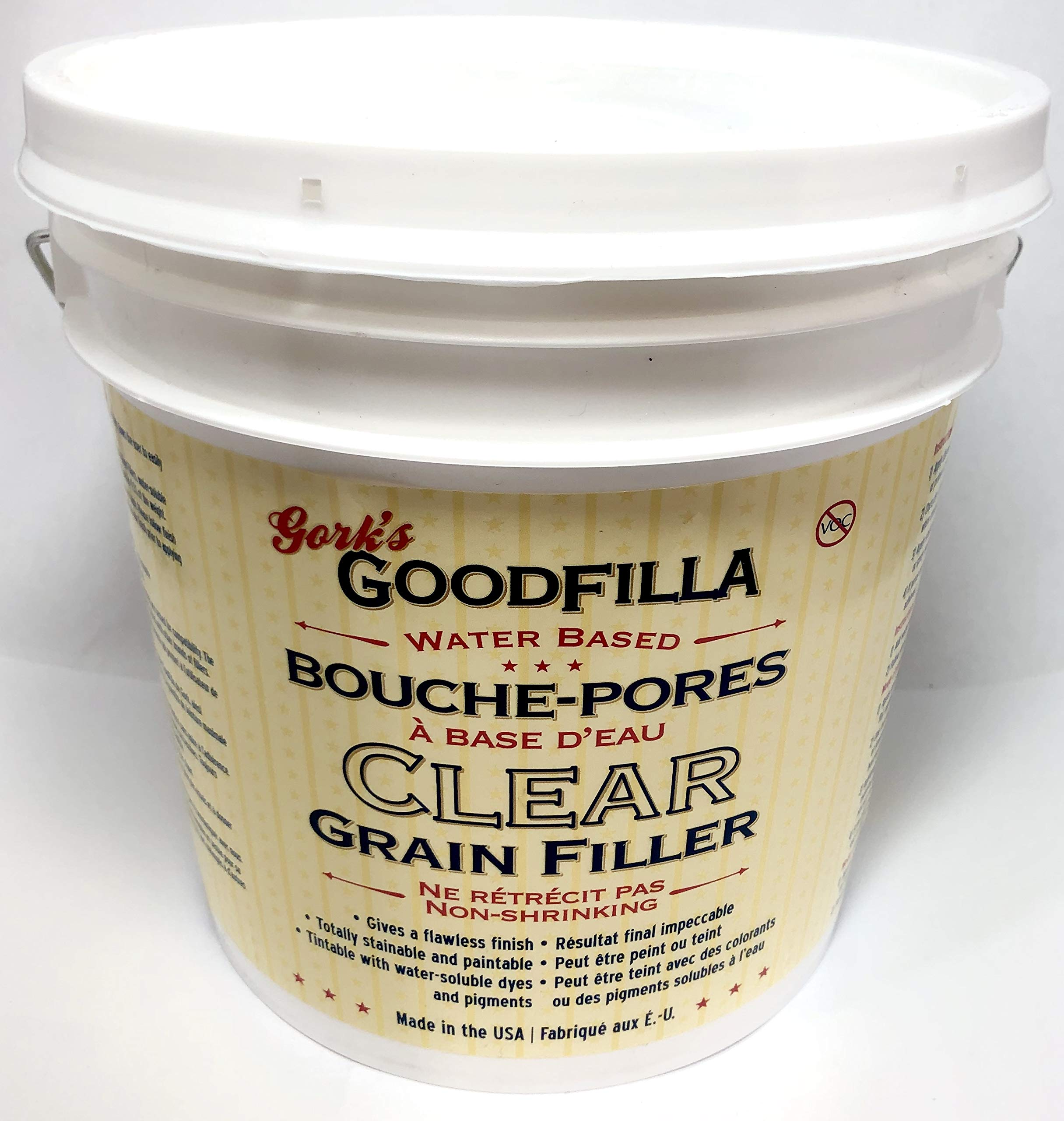 Clear Water-Based Grain & Pore Filler - 1 Gallon By Goodfilla | Innovative & | Compliments All Woodworking Finishing Products | Paintable, Stainable, Sandable & Quick Drying