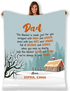 to My Father I Love You, Customised Blanket for Father with Children's Name, Customized Gifts for Father with Quotes, Father's Day, Birthday Gifts for him. Supersoft and Cozy Blanket