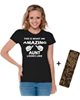 Awkwardstyles Women's This Is What An Amazing Aunt Looks Like T-shirt + Bookmark