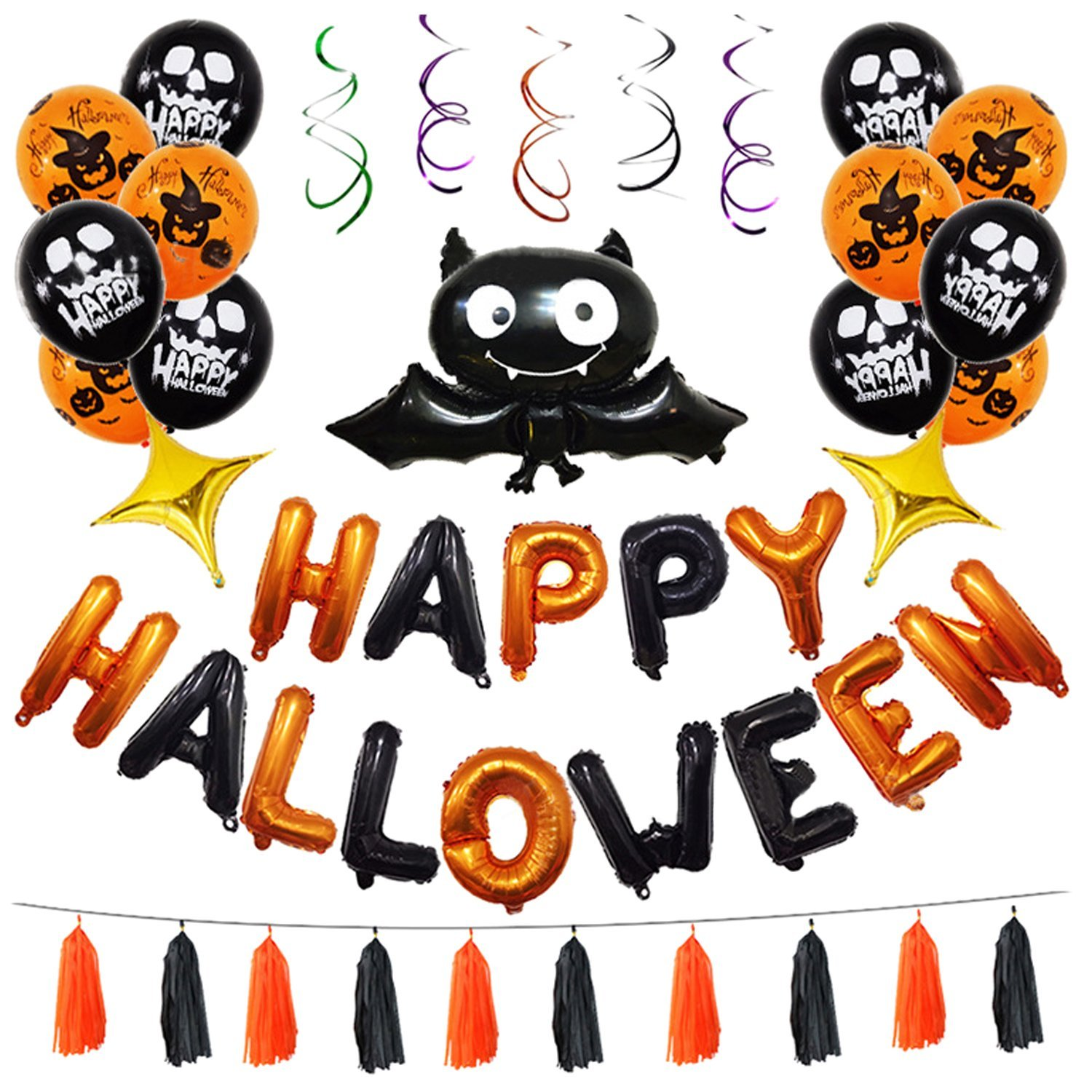 Halloween Party Supplies Birthday Decoration Balloons Scary Photo Props
