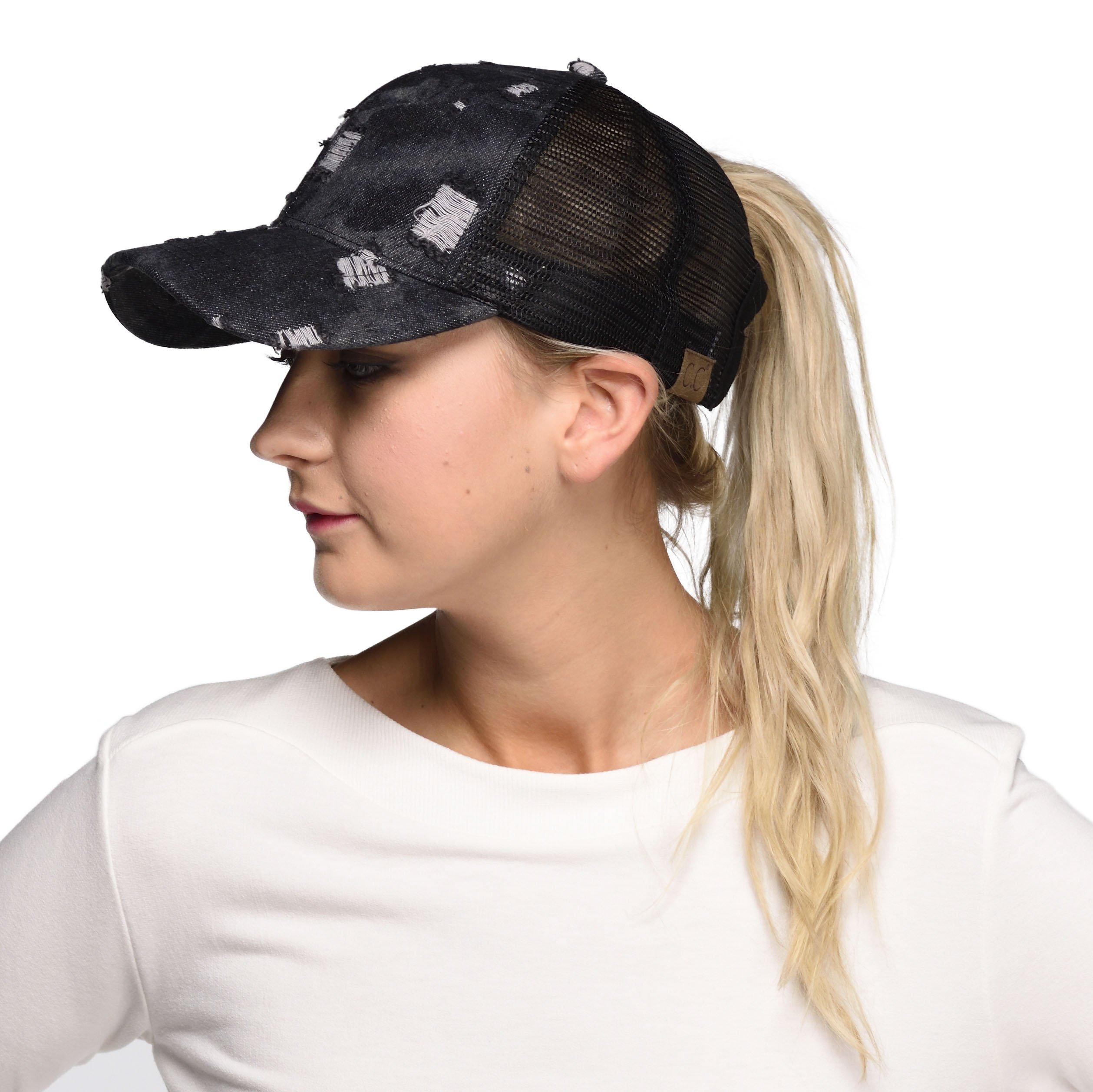 Hatsandscarf C.C Messy Buns Damaged Denim Fabric Trucker Hat with Ponytail Baseball Cap (BT-8) (Black)
