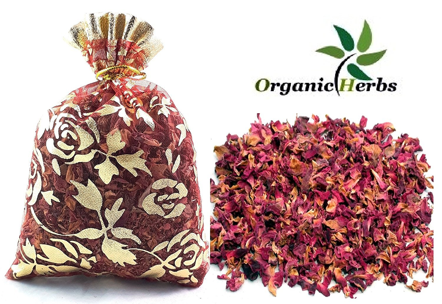 Organic Herbs (Pack of 100) 20g DRIED ROSE PETALS Potpourri Decor Organic Herbal Craft Car Perfume by Organic Herbs