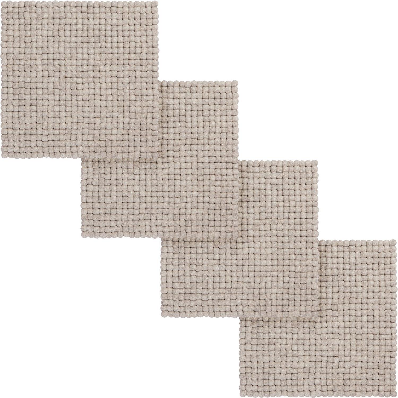 Myfelt 4x Béla Filzkugel-Sitzauflage Stuhlauflage, quadratisch, Schurwolle, beige, 36 x 36 cm