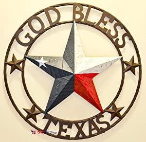 BestGiftEver Metal Circled Star with Sayings God Bless Texas - License Plate Embossed Red White Blue Star Wall Hanging Decoration Welcome Sign Front Door Porch