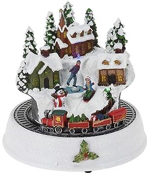 21050cd6ad9 CHICCIE LED Pueblo navideño con Tren 23 cm - Invierno Paisaje Invierno  Pueblo Escena de Navidad batería  Amazon.es  Juguetes y juegos