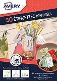 Avery Lot de 50 Etiquettes Cadeaux Perforées/Tags - 9x5cm - Blanc (C32300MC)