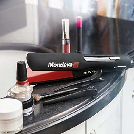 MONDAVA PROFESSIONAL Ceramic Tourmaline Hair Straightener Flat Iron and Curler – Dual Voltage Adjustable Digital LED Technology, Straighten Style Wild Hair Under 8 Min, Perfect For All Types, 1