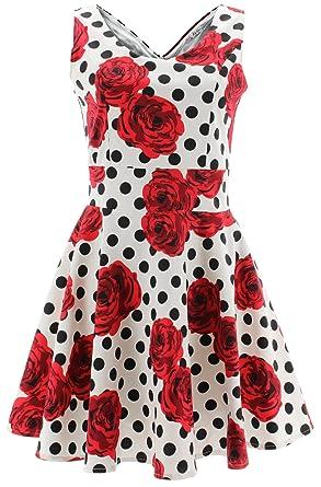 Shikha London Kleid ROSES & POLKA DOTS DRESS 4669 Weiß S-M