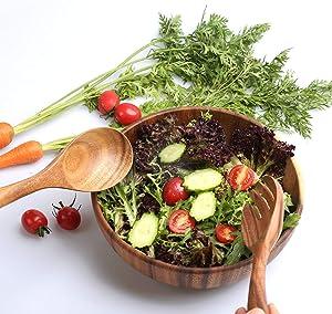 TOP-Hill acacia wooden salad bowl set, wood salad bowl, 9.5