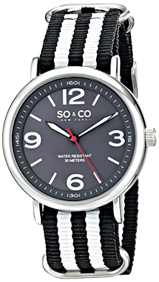 SO & CO New York 5002.2 - Reloj de cuarzo para hombres, negro con blanco